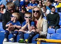 Everton fans wait for the kick-off<br /> <br /> Photographer Stephen White/CameraSport<br /> <br /> Football - Barclays Premiership - Everton v Burnley - Saturday 18th April 2015 - Goodison Park - Everton<br /> <br /> © CameraSport - 43 Linden Ave. Countesthorpe. Leicester. England. LE8 5PG - Tel: +44 (0) 116 277 4147 - admin@camerasport.com - www.camerasport.com