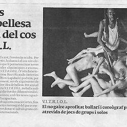 Photos for the flyers, posters, and web announcements of the dance performance V.I.T.R.I.O.L.   Jordi Cortés, one of the most famous dancer and coreografers of Europe directs  V.I.T.R.I.O.L. as it is currently being  performed in theators through out Catalunya.