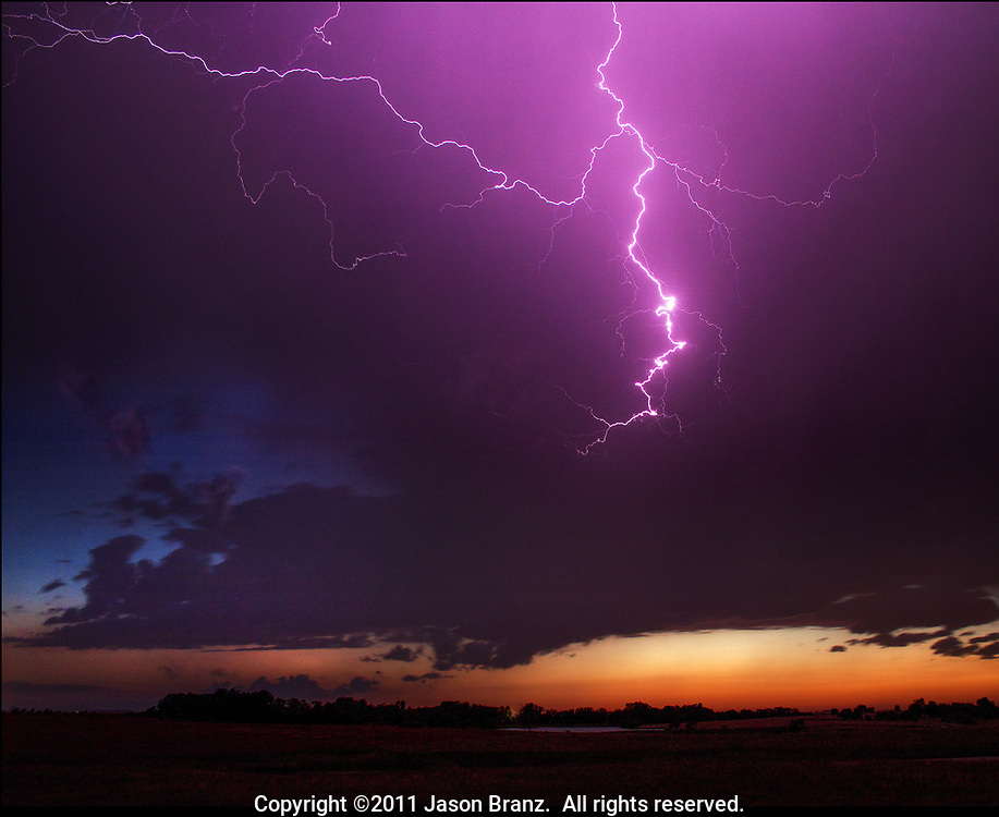 Lightning from a storm over southern Kansas.