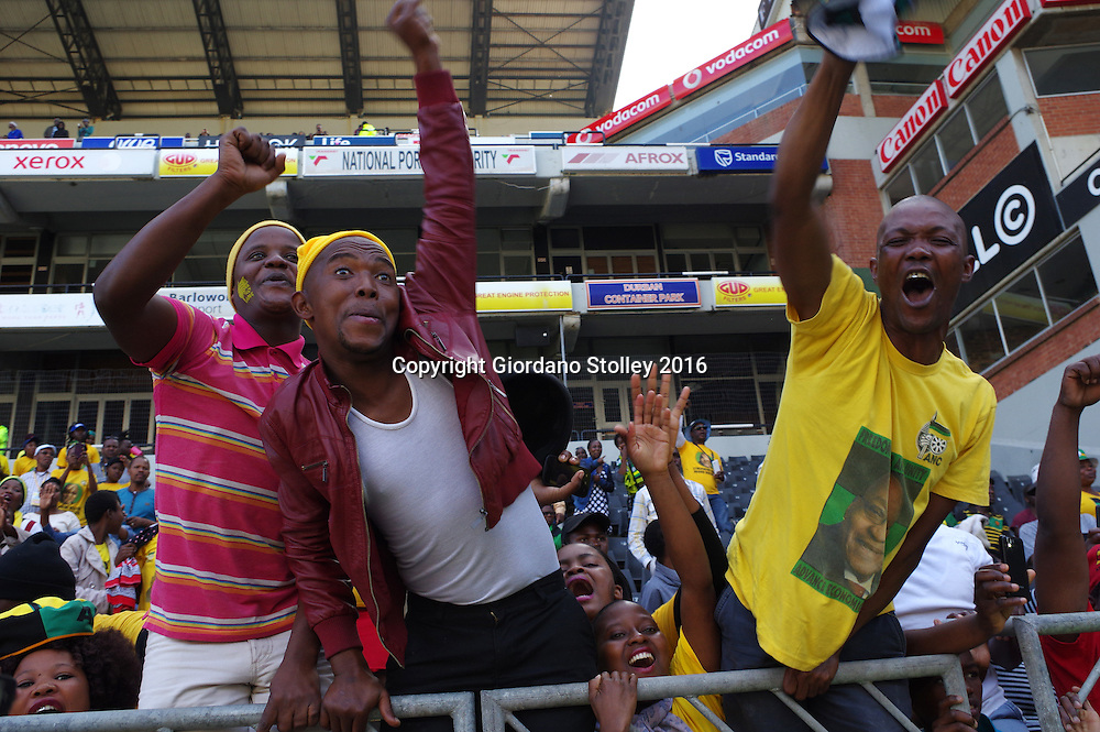 DURBAN - 25 July 2016 - Youths cheer wildly as South Africa's President Jacob Zuma arrives in Durban's King Park Stadium for the Youth Month Rally hosted by the ruling African National Congress party's youth wing.  Picture: Allied Picture Press/APP
