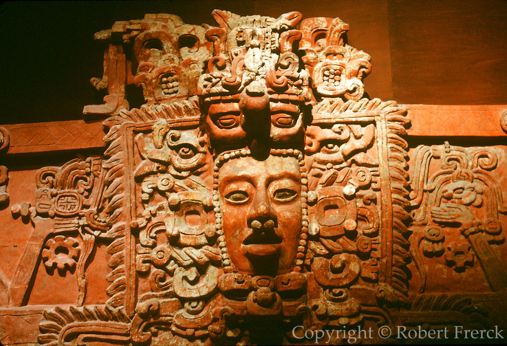 MEXICO, MEXICO CITY Anthropology Museum, Mayan Culture Sun God 'Kinich Ahau' with face of water god above 500-800 AD