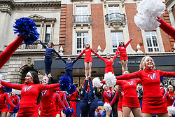 © Licensed to London News Pictures. 01/01/2019. London, UK. Cheerleaders take part in the annual New Year's Day Parade in London. Over half a million spectators line the 2.2 mile route from Piccadilly Circus to Parliament Square as more than 8,000 performers from 26 countries participates in 33rd London's New Year's Day Parade. Photo credit: Dinendra Haria/LNP