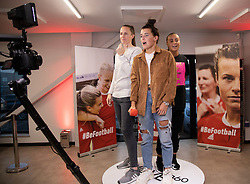 CARDIFF, WALES - Monday, August 19, 2019: Wales' goalkeeper Laura O'Sullivan (L), Angharad James (C) and Natasha Harding (R) during the launch event for the Be.Football campaign at the Wales women's squad annoucement ahead of the UEFA Women Euro 2021 qualifying Group C games against Faroe Islands and Northern Ireland at Orchard HQ. (Pic by Kunjan Malde/Propaganda)