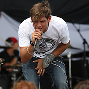 Lead singer Rob Ulrich of the band Mindset Evolution performs at the Rockstar Uproar Festival at the 1-800-Ask-Gary amphitheater in Tampa, Florida on Thursday, September 13, 2012. (AP Photo/Alex Menendez)