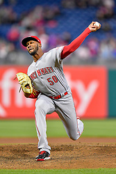 April 11, 2018 - Philadelphia, PA, U.S. - PHILADELPHIA, PA - APRIL 11: Cincinnati Reds relief pitcher Amir Garrett (50) releases his [itch during the MLB game between the Cincinnati Reds and the Philadelphia Phillies on April 11, 2018 at Citizens Bank Park in Philadelphia PA. (Photo by Gavin Baker/Icon Sportswire) (Credit Image: © Gavin Baker/Icon SMI via ZUMA Press)