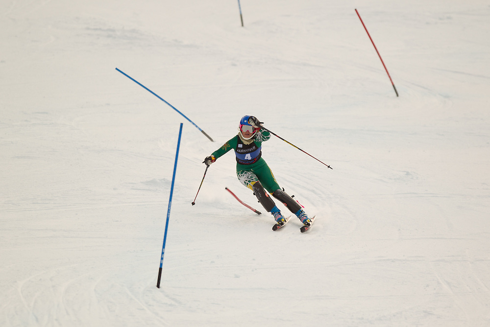 Elise Tefre of the University of Vermont, skis during the second run of the women's slalom at the Colby College Carnival at Sugarloaf Mountain on January 18, 2014 in Carabassett Valley, ME. (Dustin Satloff/EISA)