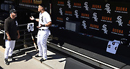 CHICAGO - APRIL 09:  Jose Abreu #79 and Manager Rick Renteria #36 of the Chicago White Sox talk in the dugout prior to the game against the Tampa Bay Rays on April 9, 2019 at Guaranteed Rate Field in Chicago, Illinois.  (Photo by Ron Vesely)  Subject:   Jose Abreu; Ricky Renteria