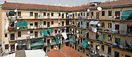 Milano, cortile di una casa di ringhiera in via Leoncavallo.                       Milan, railing house in Leoncavallo street.