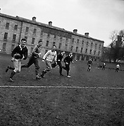 Irish Rugby Football Union, Ireland v Scotland, Five Nations, Scottish team practice at college park, Dublin, Ireland, Friday 23rd February, 1962,.23.2.1962, 2.23.1962,..  Scottish Team, ..K J F Scotland, Wearing number 15 Scottish jersey,  Full Back, Leicester Rugby Football Club, Leicester, England, ..R C Cowan, Wearing number 11 Scottish jersey,  Left Wing, Selkirk Rugby Football Club, Selkirk, Scotland, ..I H P Laughland, Wearing number 12 Scottish jersey, Left Centre, London Scottish Rugby Football Club, Surrey, England, ..J J McPartlin, Wearing number 13 Scottish jersey,  Right Centre, Oxford University Rugby Football Club, Oxford, England,..A R Smith, Wearing number 14 Scottish jersey, Captain of the Irish team,  Right Wing, Edinburgh University Rugby Football Club, Edinburgh, Scotland, ..G H Waddell, Wearing number 10 Scottish jersey,  Stand Off, London Scottish Rugby Football Club, Surrey, England, ..S Coughtrie, Wearing number 9 Scottish jersey,  Scrum Half, Edinburgh Academical Rugby Football Club, Edinburgh, Scotland, ..H F McLeod, Wearing number 1 Scottish jersey,  Forward,  Hawick Rugby Football Club, Hawick, Scotland, ..N S Bruce, Wearing number 2 Scottish jersey,  Forward, London Scottish Rugby Football Club, Surrey, England, ..R Steven , Wearing number 3 Scottish jersey, Forward, Edinburgh Wanderers Rugby Football Club, Edinburgh, Scotland, ..F H ten Bos, Wearing number 4 Scottish jersey,  Forward, London Scottish Rugby Football Club, Surrey, England, ..M J Campbell-Lamberton, Wearing number 5 Scottish jersey, Forward, Halifax Rugby Football Club, Yorkshire, England, ..R J C Glasgow, Wearing number 6 Scottish jersey,  Forward, Dunfermline Rugby Football Club, Fife, Scotland, ..J Douglas, Wearing number 8 Scottish jersey, Forward, Stewarts College Rugby Football Club, Edinburgh, Scotland, ..K I Ross, Wearing number 7 Scottish jersey, Forward, Boroughmuir Rugby Football Club, Edinburgh, Scotland,
