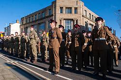 Remembrance Sunday Barnsley members of 4 Yorks beside recruts from the  Parachute Regiment<br /> <br />   12 November2017 <br />   Copyright Paul David Drabble<br />   www.pauldaviddrabble.co.uk