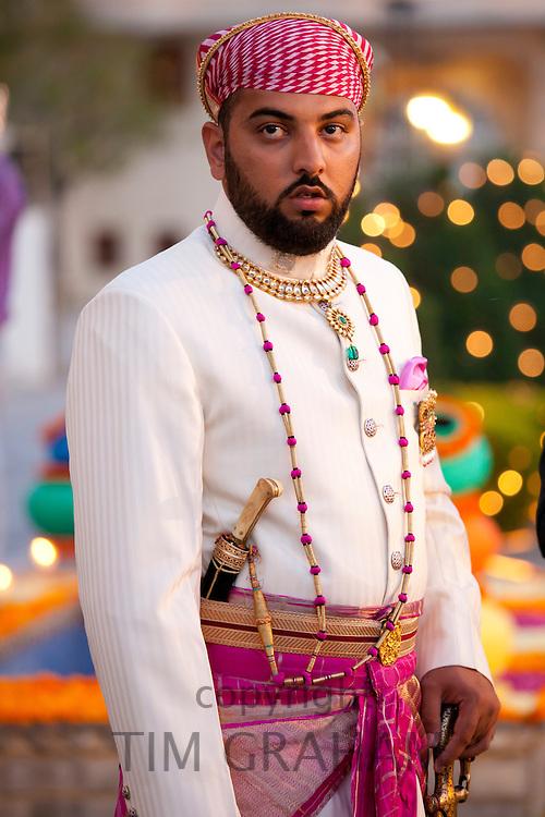 Lakshaya Raj, son and heir of 76th Maharana of Mewar, Shriji Arvind Singh Mewar of Udaipur, at the City Palace, Rajasthan, India