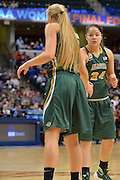 April 4, 2016; Indianapolis, Ind.; Sierra Afoa and Alysha Devine exchange a low five after Afoa was found in the NCAA Division II Women's Basketball National Championship game at Bankers Life Fieldhouse between UAA and Lubbock Christian. The Seawolves lost to the Lady Chaps 78-73.