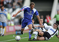 Fotball<br /> Foto: SBI/Digitalsport<br /> NORWAY ONLY<br /> <br /> Derby County v Cardiff City<br /> Coca Cola Championship.<br /> 20/08/2005.<br /> <br /> Neal Ardley gets tackled by Richard Jackson and Adam Bolder
