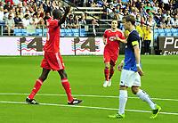 Fotball Herrer UEFA Europa League 2013<br /> Marienlyst Stadion Gamle Gress  18.07.2013<br /> <br /> Strømsgodset vs Debrecen<br /> <br /> Resultat <br /> <br /> Foto: Robert Christensen Digitalsport<br /> <br /> Strømsgodset Stefan Johansen depper<br /> <br /> Debrecen Ibrahim Sibide jubler for scoring