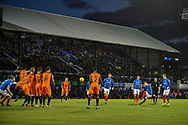 Portsmouth Midfielder, Ben Thompson (32) with a shot from a free kick during the EFL Sky Bet League 1 match between Portsmouth and Southend United at Fratton Park, Portsmouth, England on 8 December 2018.