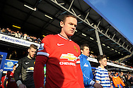 Wayne Rooney, the Manchester United captain enters the pitch before k/o. Barclays Premier league match, Queens Park Rangers v Manchester Utd at Loftus Road in London on Saturday 17th Jan 2015. pic by John Patrick Fletcher, Andrew Orchard sports photography.
