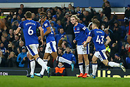 Dominic Calvert-Lewin of Everton (2l) celebrates with his teammates after scoring his teams 2nd goal to make it 2-2. Premier league match, Everton vs Watford at Goodison Park in Liverpool, Merseyside on Sunday 5th November 2017.<br /> pic by Chris Stading, Andrew Orchard sports photography.