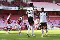 Football - 2020 /2021 Premier League - Arsenal v Fulham - Emirate Stadium<br /> <br /> Fulham's Josh Maja celebrates scoring the opening goal from the penalty spot with Ivan Cavaleiro.<br /> <br /> COLORSPORT