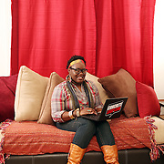 Angel Laws, Professional Blogger and owner of Concrete Loop, at her home in Jacksonville, NC.