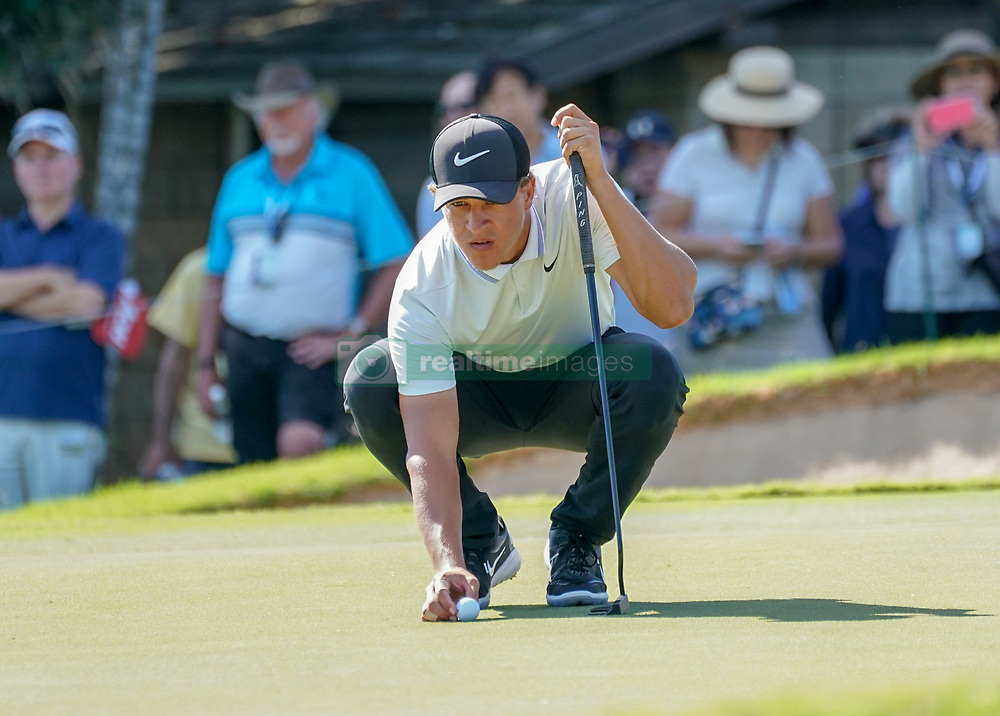 January 11, 2019 - Honolulu, HI, U.S. - HONOLULU, HI - JANUARY 11: Cameron Champ lines up his putt at the 3rd hole during the second round of the Sony Open at the Waialae Country Club in Honolulu, HI. (Photo by Darryl Oumi/Icon Sportswire) (Credit Image: © Darryl Oumi/Icon SMI via ZUMA Press)