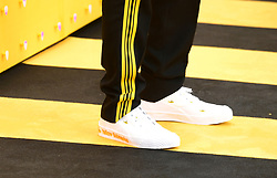 Close up of Himesh Patel's Yellow Submarine shoes during the Yesterday UK Premiere held in London, UK.