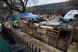 A protest camp in Euston Square Gardens previously occupied by environmental activists from anti-HS2 campaign group HS2 Rebellion is pictured on 6th February 2021 in London, United Kingdom. National Eviction Team bailiffs have been working on behalf of HS2 Ltd for the past eleven days to try to remove activists from tunnels dug by them beneath the site in order to seek to protect trees from felling in connection with the HS2 high-speed rail project.