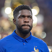 PARIS, FRANCE - March 25:  Samuel Umtiti #5 of France lines up with the French team during the National Anthems before the France V Iceland, 2020 European Championship Qualifying, Group Stage at  Stade de France on March 25th 2019 in Paris, France (Photo by Tim Clayton/Corbis via Getty Images)