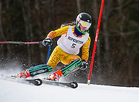 Hopkinton's Meg Hemmerlein charges the slalom course during Saturday's Capital Cup at Blackwater/Proctor Ski Area.  (Karen Bobotas/for the Concord Monitor)