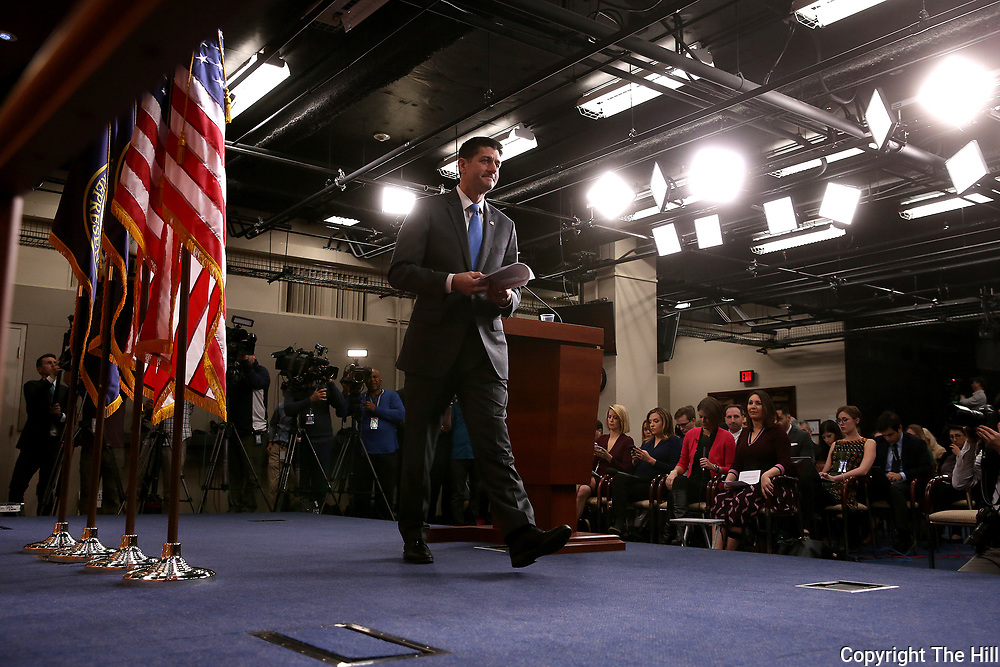 Speaker Paul Ryan (R-Wis.) leaves a press conference on Wednesday, April 11, 2018 after announcing he would retire in January.
