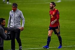 SEVILLE, SPAIN - Tuesday, November 17, 2020: Sergio Ramos of Spain injured during the UEFA Nations League match between Spain and Germany at Estadio La Cartuja de Sevilla. (Photo by Pablo Morano/Orange Pictures via Propaganda)