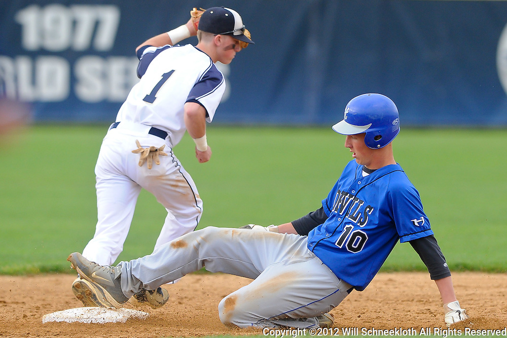 Hammonton's Keith Salmon is put out at second base by Freehold Boro shortstop Matt Holtz during NJSIAA Group III baseball semifinal action between Hammonton High School and Freehold Boro High School at Monmouth University..Photo/Will Schneekloth special to The Daily Journal