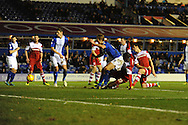 Middlesbrough's Daniel Sanchez Ayala (on knees right) scores his sides 2nd goal  during the Skybet football league championship match, Birmingham city v Middlesbrough at St.Andrew's in Birmingham, England on Sat 7th Dec 2013. pic by Jeff Thomas/Andrew Orchard sports photography.
