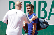 Andre Kirk Agassi (USA) new trainer of Novak Djokovic (SRB) greated Arnaud Clement at practice on court 5 during the Roland Garros French Tennis Open 2017, preview, on May ......, 2017, at the Roland Garros Stadium in Paris, France - Photo Stephane Allaman / ProSportsImages / DPPI