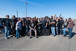 Aidan has a Posse fundraiser ride out from the Buffalo Chip Crossroads during the 78th annual Sturgis Motorcycle Rally. Sturgis, SD. USA. Tuesday August 7, 2018. Photography ©2018 Michael Lichter.
