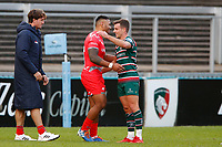 Rugby Union - 2019 / 2020 Gallagher Premiership - Leicester Tigers vs Sale Sharks<br /> <br /> Manu Tuilagi of Sale Sharks with George Ford of Leicester Tigers at Welford Road.<br /> <br /> COLORSPORT/LYNNE CAMERON