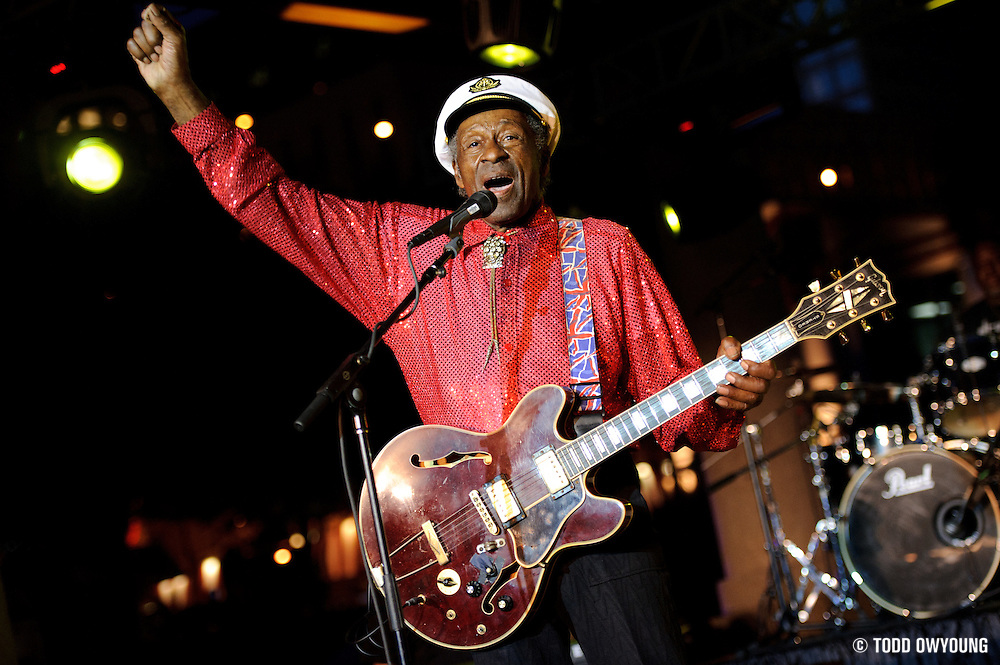 Chuck Berry performing at Kiener Plaza in St. Louis during a rally concert for St. Louis's bid for the Democratic National Convention in 2010.