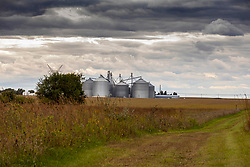 29 September 2020:   A large truck delivers grain from a field to the grain elevator in a midwest town.