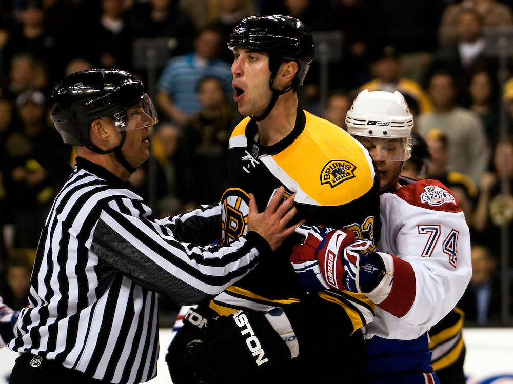 The Montreal Canadiens and  the Boston Bruins on January 13, 2009 at the TD Bank Garden in Boston, Massachusetts.