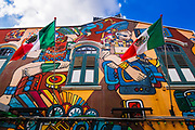 Mural and flags on Arab Street, Singapore, Republic of Singapore