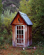 Outhouse built by Rupert House and preserved by Heidi and Allen Heath, Triumph, Idaho.
