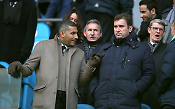Manchester City chairman Khaldoon Al Mubarak (left) and CEO Ferran Soriano in the stands before the game in the Premier League match at the Etihad Stadium, Manchester.