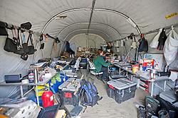 Research tent at Pika Camp, an alpine research field camp in the Ruby Range near Kluane Lake Research Station, Yukon