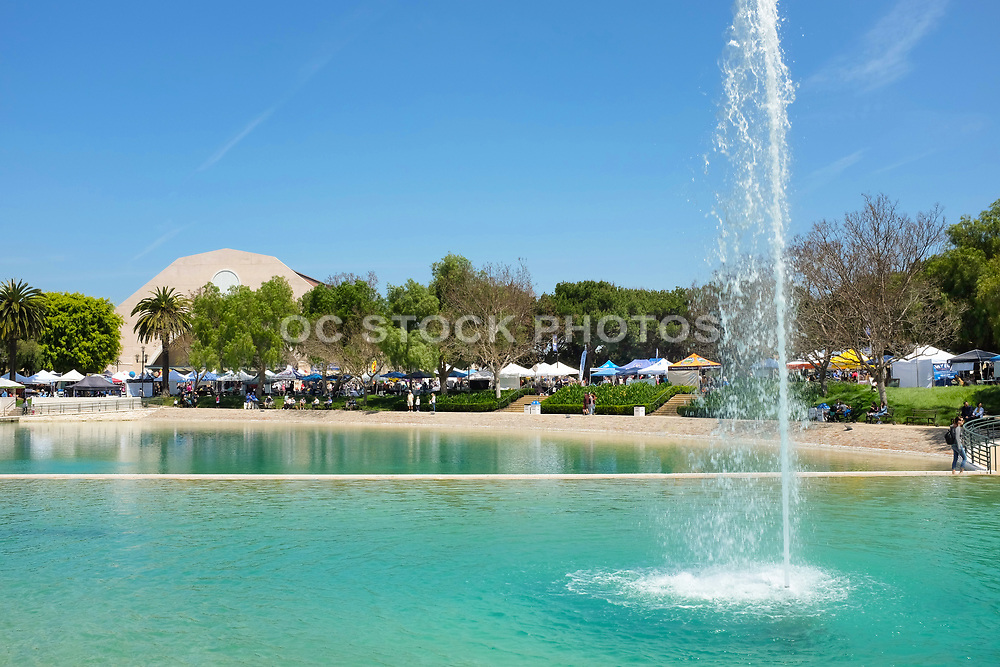 Peace Lake Fountain at Soka University with Exhibit Booths During the International Festival