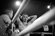 Ultimate bare-Knuckle boxing competition at Manchester's Bowlers Exhibition Centre, Old Trafford, Manchester, UK.<br /> Photo shows Reece Drummond who lost his fight against Jay 'BamBam' Eggleston. <br /> Photo ©Steve Forrest/Workers' Photo