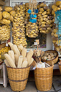 Gifts and souvenirs shop selling natural sea sponge products and loofahs  in Kerkyra, Corfu Town, Greece