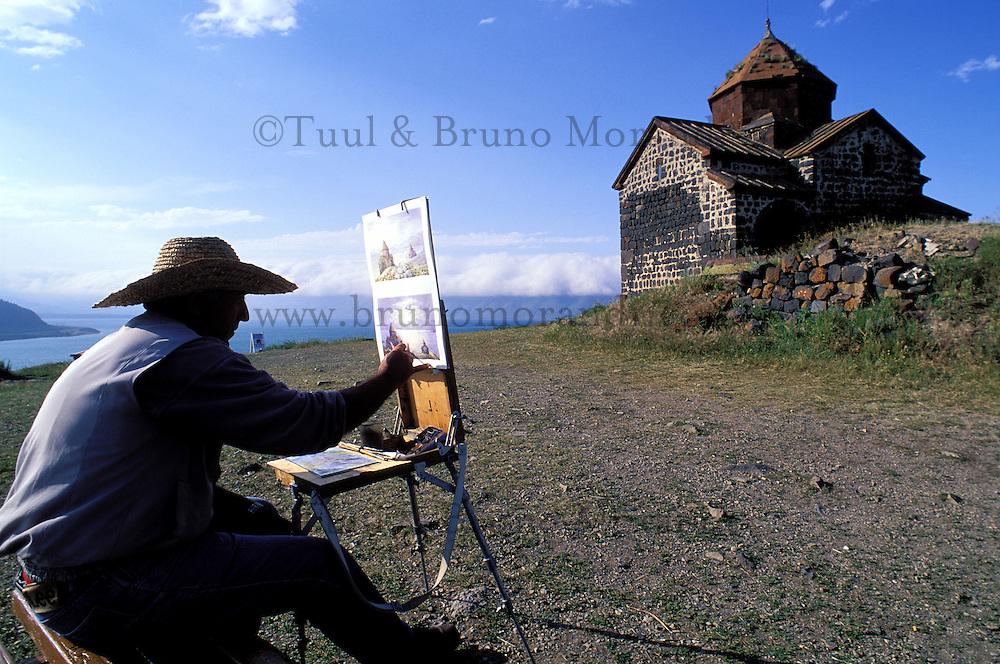 Armenie, Eglises du lac Sevan, Peintre // Armenia, Sevan Lake, painter and church
