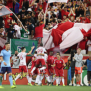 HARRISON, NEW JERSEY- AUGUST 25: New York Red Bulls players and fans celebrate a goal by Gonzalo Veron #30 of New York Red Bulls during the New York Red Bulls Vs New York City FC MLS regular season match at Red Bull Arena, Harrison, New Jersey on August 25, 2017 in Harrison, New Jersey. (Photo by Tim Clayton/Corbis via Getty Images)