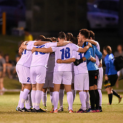 BRISBANE, AUSTRALIA - FEBRUARY 10: Gold Coast United players gather during the NPL Queensland Senior Mens Round 2 match between Gold Coast United and Brisbane Roar Youth at Station Reserve on February 10, 2018 in Brisbane, Australia. (Photo by Football Click / Patrick Kearney)