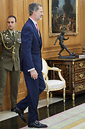 King Felipe VI of Spain attended a meeting at Zarzuela Palace on December 11, 2018 in Madrid, Spain