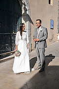 Local bride and groom, Collioure, Cote Vermeille, Pyranees-Orientales, Languedoc-Rousillon, France